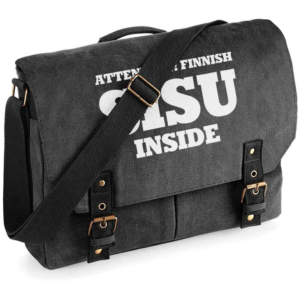 """Attention! Finnish SISU inside"" Premium Schultertasche im Vintagelook M1-FT 92127"
