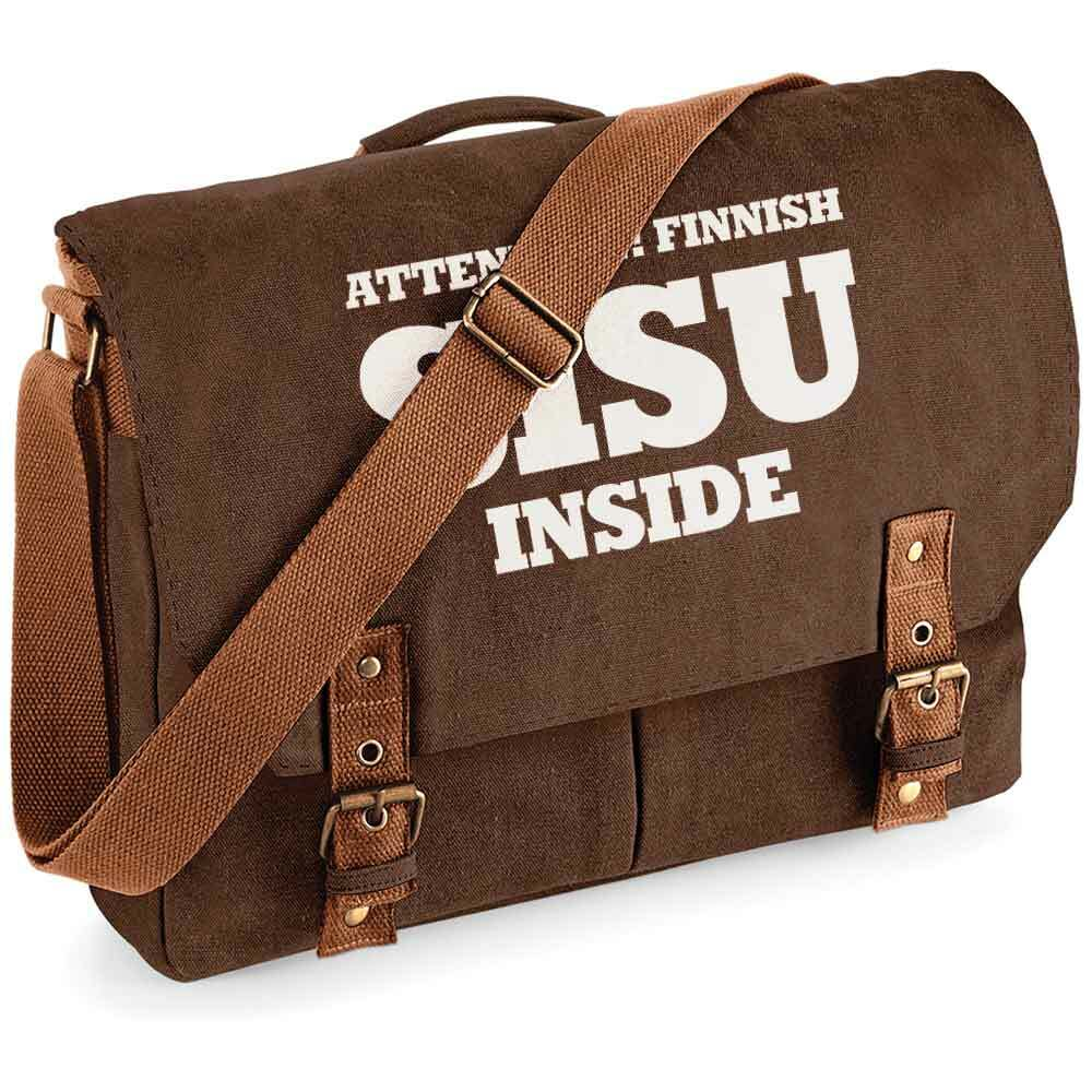 """Attention! Finnish SISU inside"" Premium Schultertasche im Vintagelook"