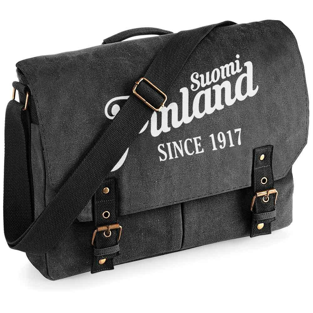 """""""Suomi Finland - since 1917"""" Premium Schultertasche im Vintagelook"""