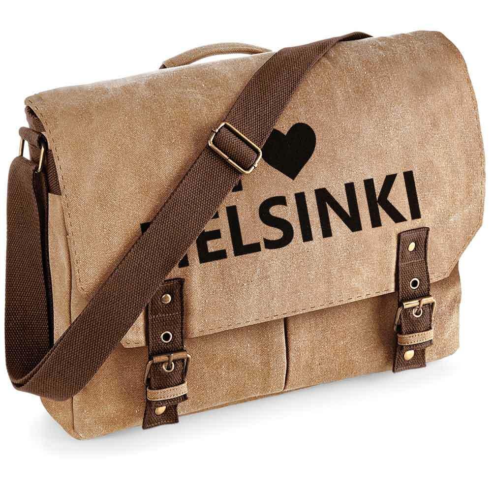 """""""I love Helsinki"""" Premium Schultertasche im Vintagelook"""