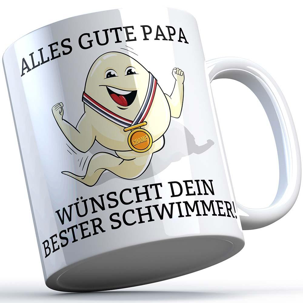"""""""Alles Gute Papa wünscht dein bester Schwimmer"""" Spermium Tasse (Variante: Weißer Henkel) 92148"""