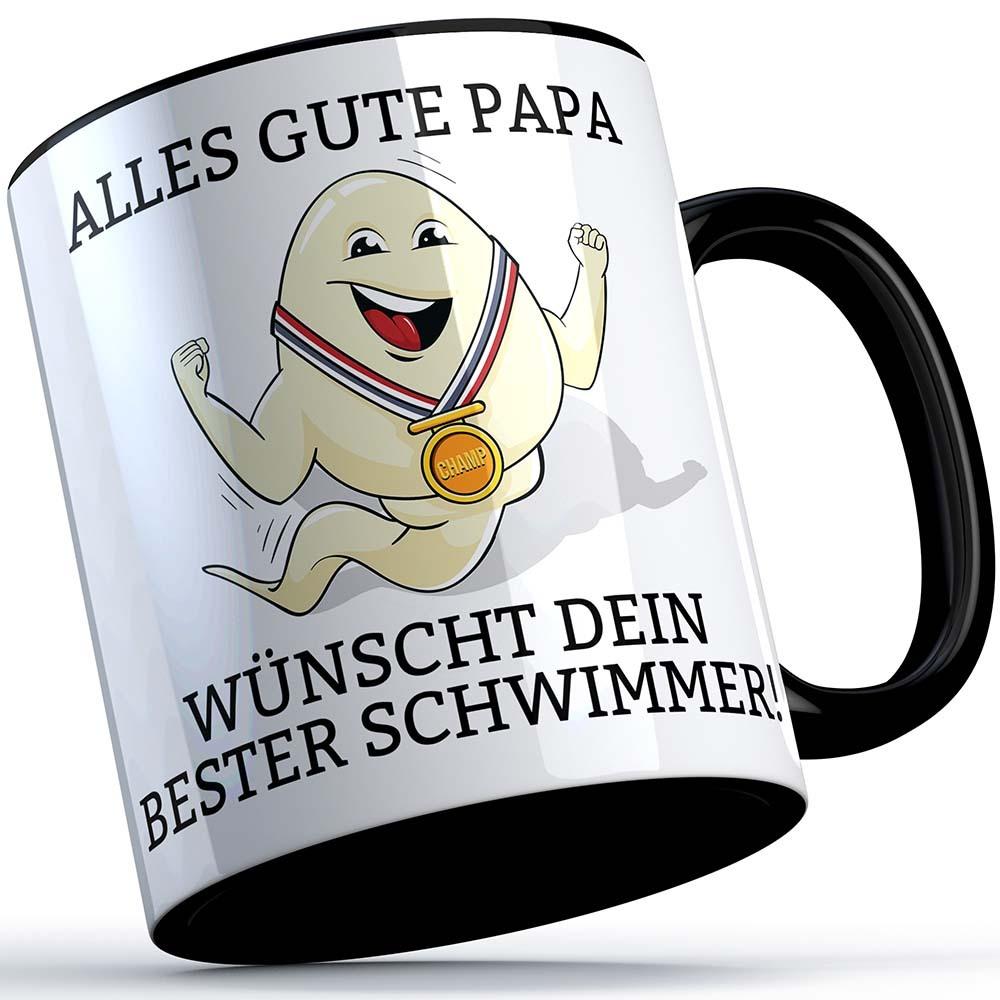 """""""Alles Gute Papa wünscht dein bester Schwimmer"""" Spermium Tasse (Variante: Schwarzer Henkel) 92149"""