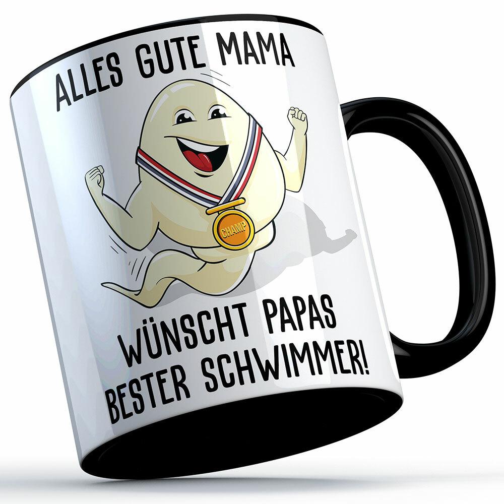 """""""Alles Gute Mama wünscht Papas bester Schwimmer"""" Spermium Tasse (Variante: Schwarzer Henkel) 92155"""