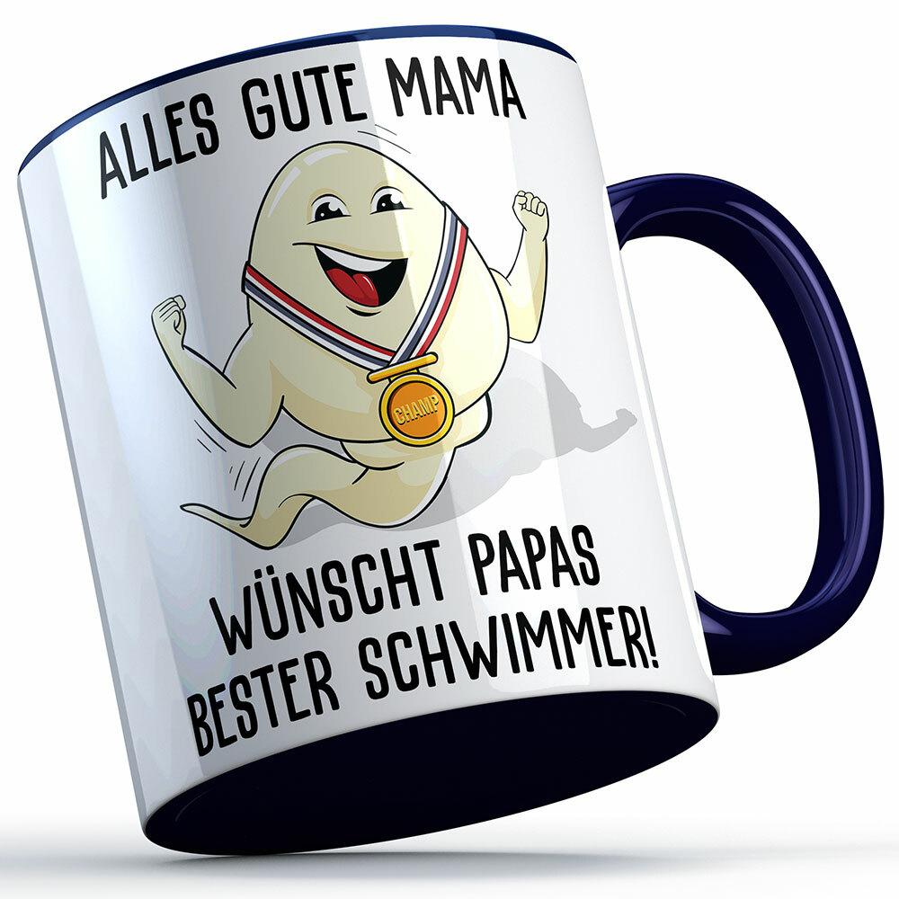 """""""Alles Gute Mama wünscht Papas bester Schwimmer"""" Spermium Tasse (Variante: Blauer Henkel) 92156"""