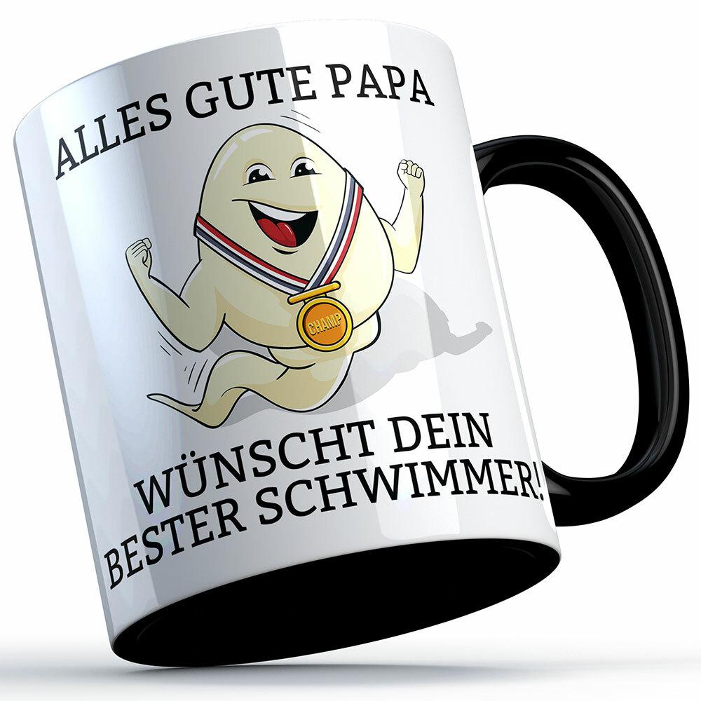 """""""Alles Gute Papa wünscht dein bester Schwimmer"""" Spermium Tasse (Variante: Zaubertasse mit Farbwechseleffekt)"""