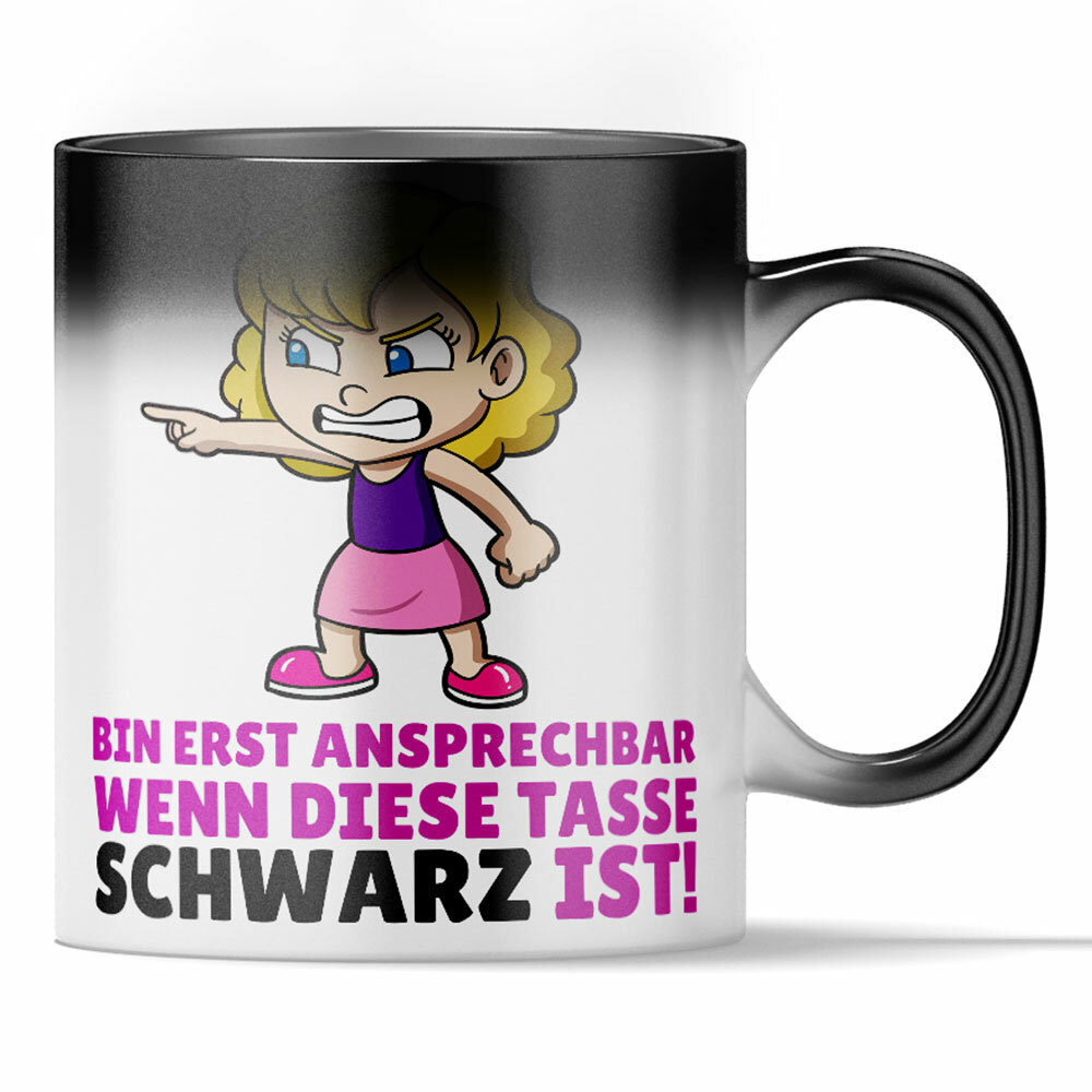 """""""Bin erst ansprechbar wenn diese Tasse Schwarz ist"""" Lustige Farbwechseltasse für Morgenmuffel 92162"""