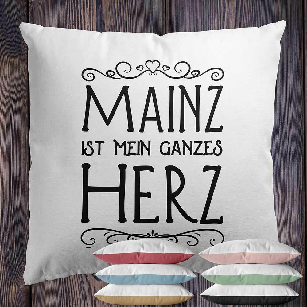 """Two Tone Kissen """"Mainz ist mein ganzes Herz"""" (Erhältlich in sechs Farben) M1-RHL 92184"""