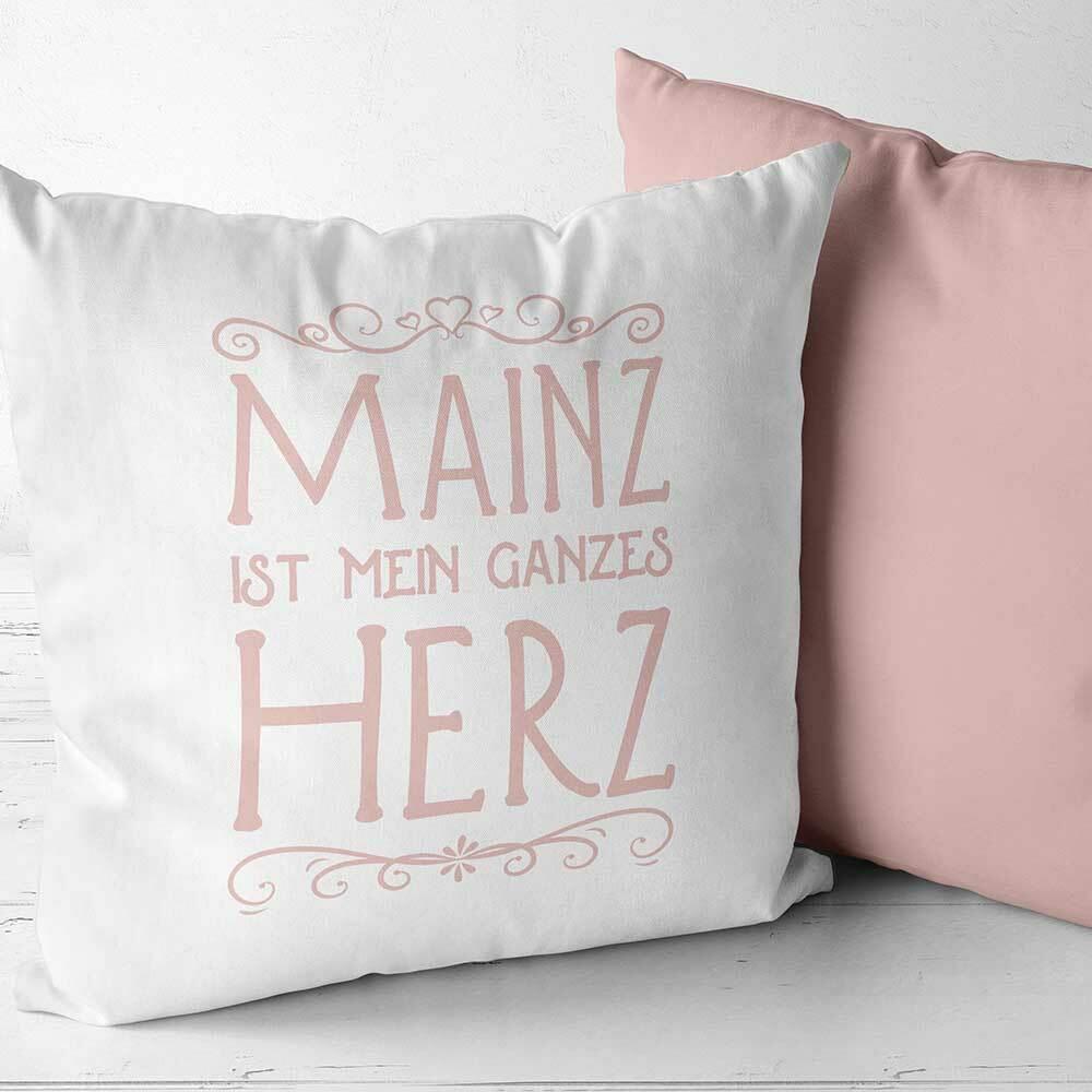 """Two Tone Kissen """"Mainz ist mein ganzes Herz"""" (Erhältlich in sechs Farben)"""