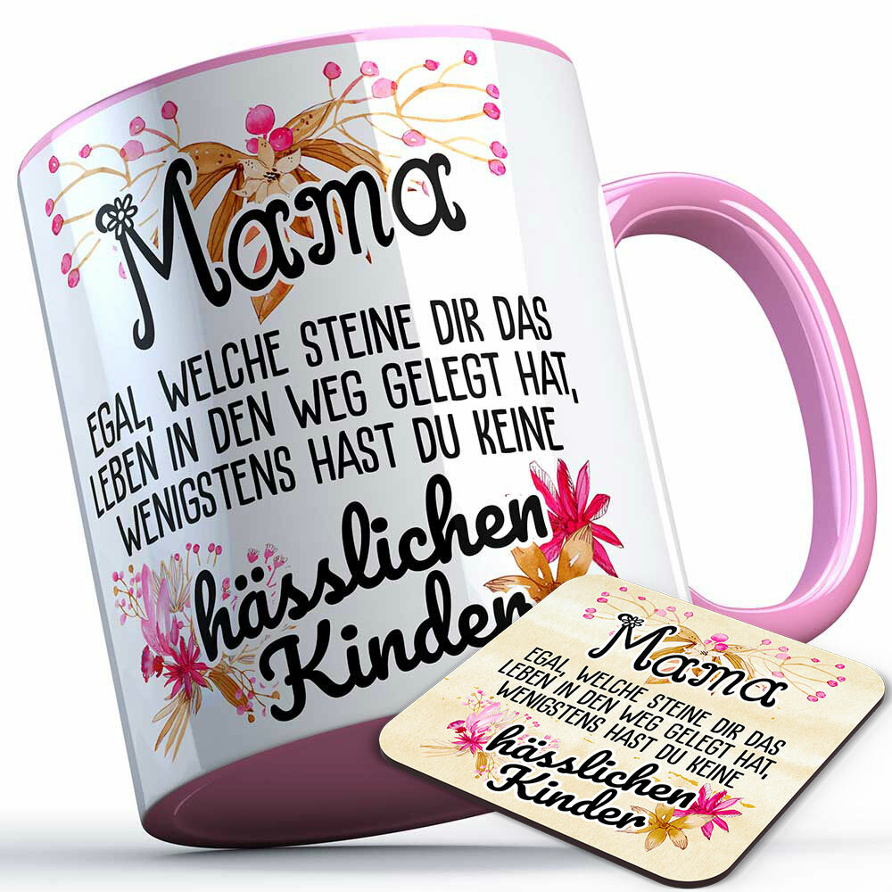 Mama egal welche Steine dir das Leben in den Weg gelegt hat... Tasse inkl. passendem Untersetzer lustige Sprüchetasse (5 Varianten) 92185