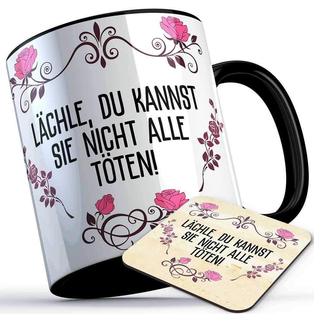 """""""Lächle du kannst sie nicht alle töten!"""" Tasse inkl. passendem Untersetzer lustige Sprüchetasse (5 Varianten) 92187"""