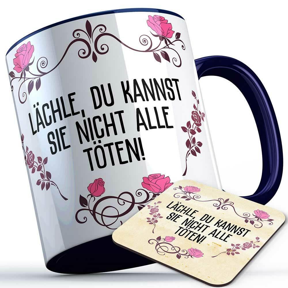 """""""Lächle du kannst sie nicht alle töten!"""" Tasse inkl. passendem Untersetzer lustige Sprüchetasse (5 Varianten)"""