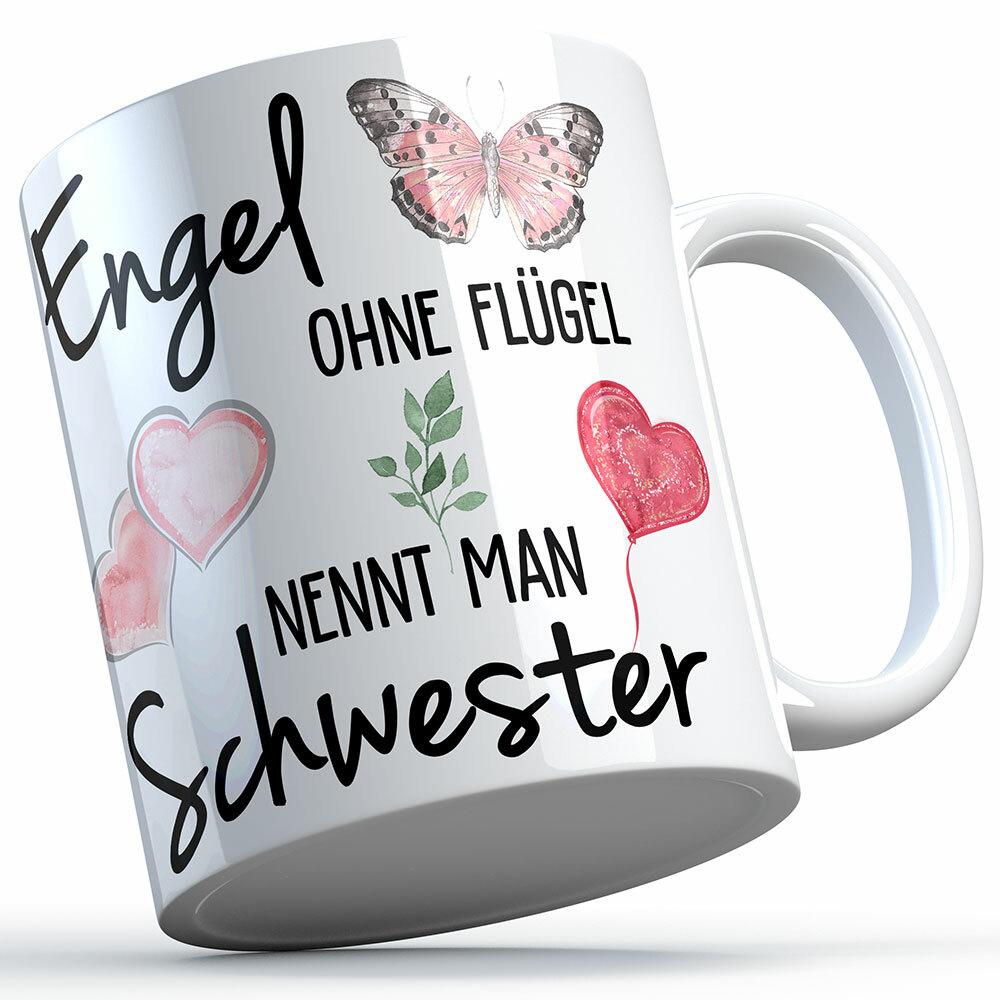 """""""Engel ohne Flügel nennt man Schwester"""" Tasse lustige Sprüchetasse (5 Varianten)"""