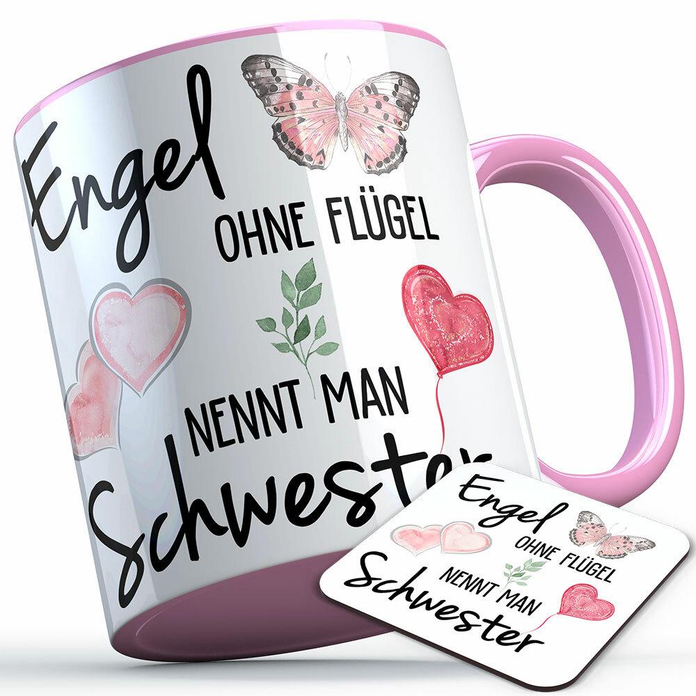 """""""Engel ohne Flügel nennt man Schwester"""" Tasse inkl. passendem Untersetzer (5 Varianten) 92198"""