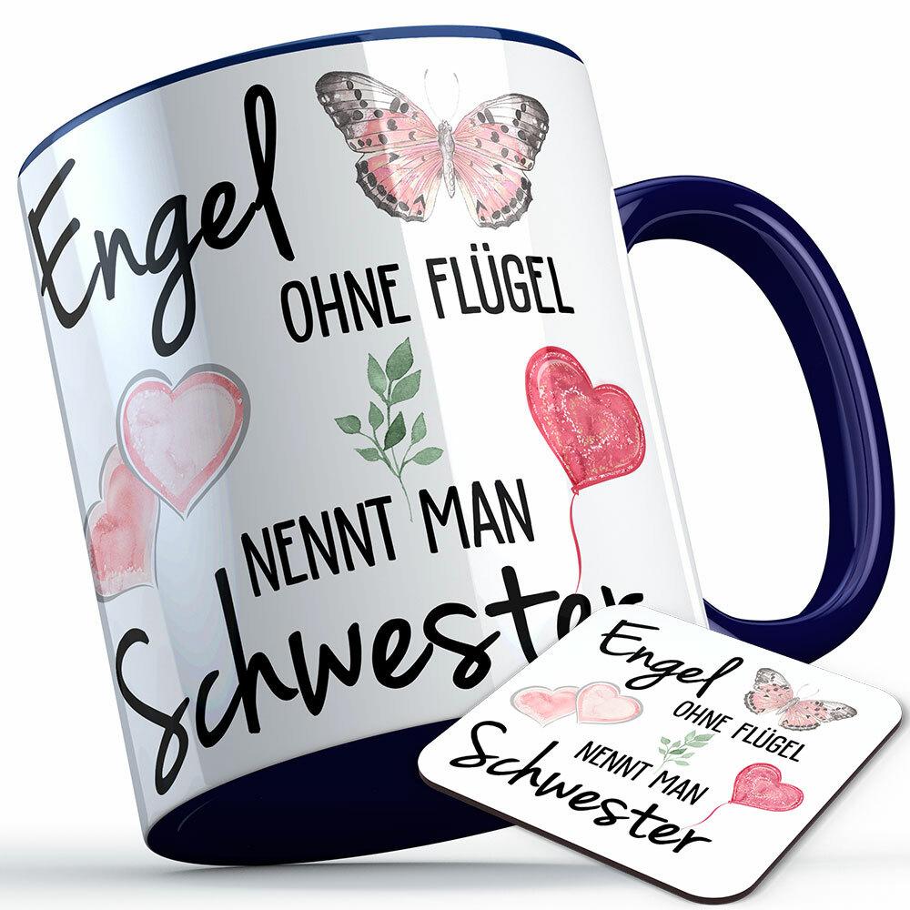 """""""Engel ohne Flügel nennt man Schwester"""" Tasse inkl. passendem Untersetzer (5 Varianten)"""
