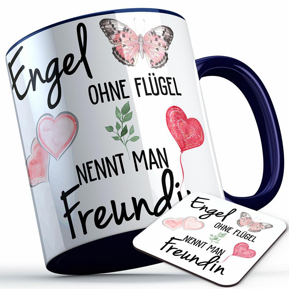 """""""Engel ohne Flügel nennt man Freundin"""" Tasse inkl. passendem Untersetzer (5 Varianten) 92202"""
