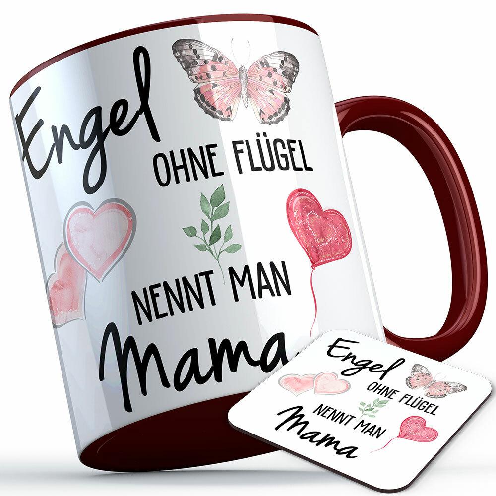 """""""Engel ohne Flügel nennt man Mama"""" Tasse inkl. passendem Untersetzer (5 Varianten) 92200"""
