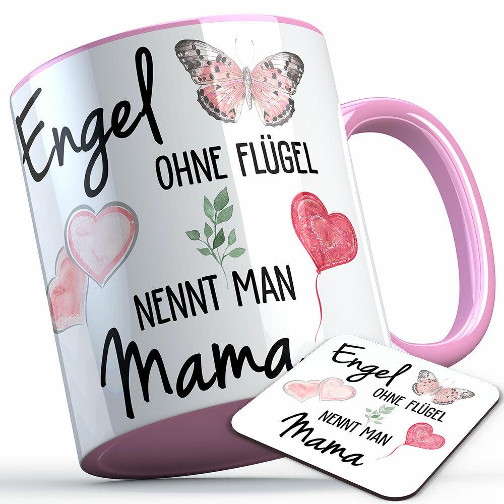 """""""Engel ohne Flügel nennt man Mama"""" Tasse inkl. passendem Untersetzer (5 Varianten)"""