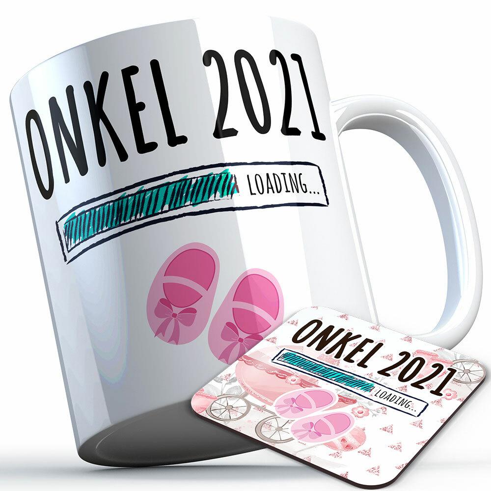 """Onkel 2021 loading... (Mädchen)"" Tasse inkl. passendem Untersetzer (5 Varianten)"