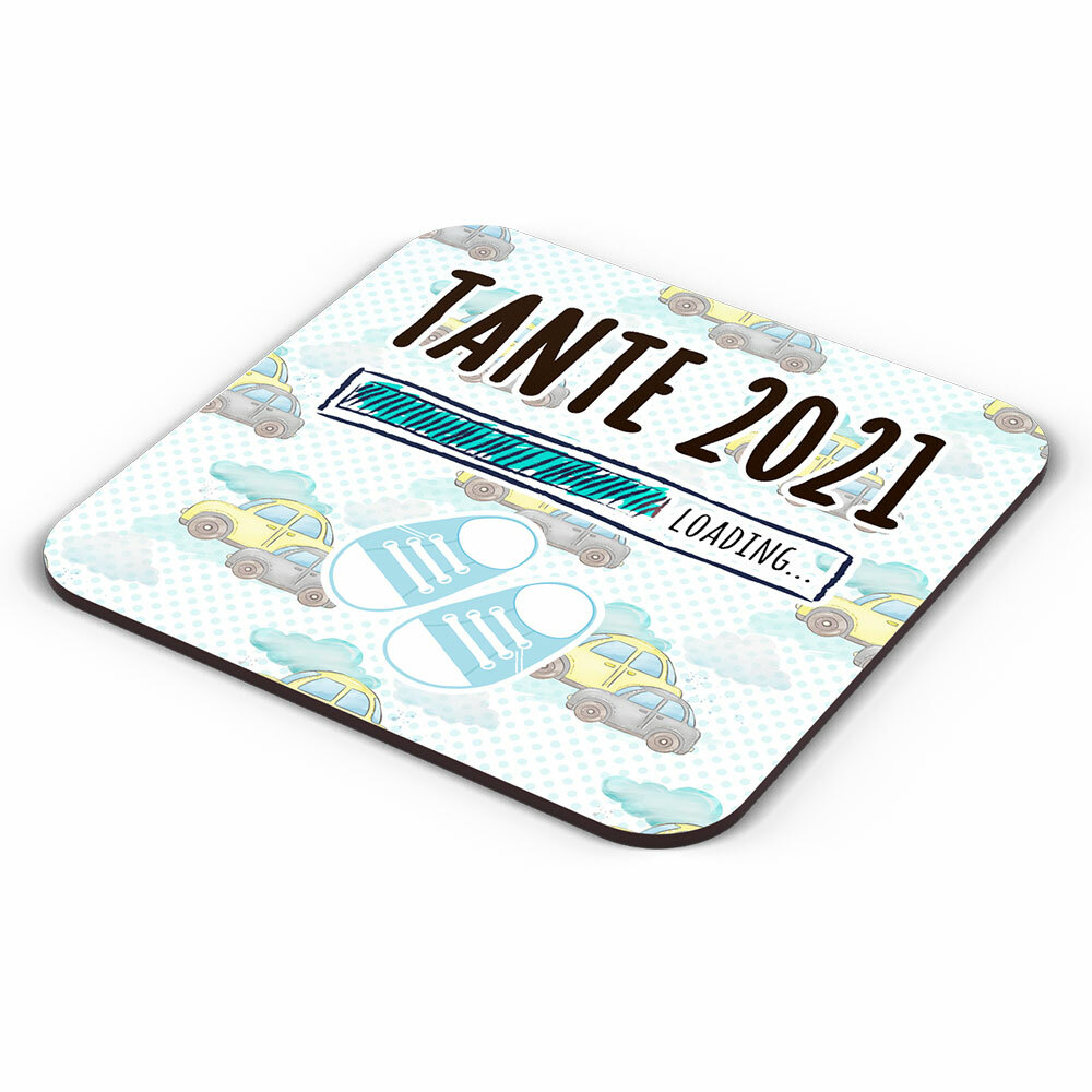"""Tante 2021 loading... (Junge)"" Tasse inkl. passendem Untersetzer (4 Varianten)"