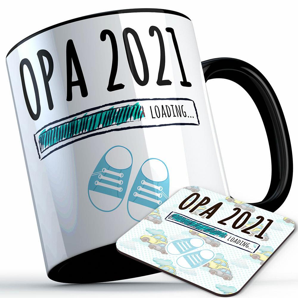 """Opa 2021 loading... (Junge)"" Tasse inkl. passendem Untersetzer (4 Varianten) 92216"