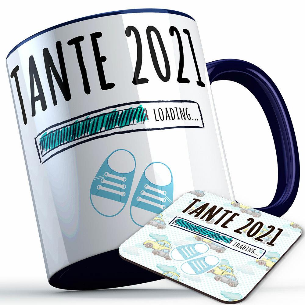 """Tante 2021 loading... (Junge)"" Tasse inkl. passendem Untersetzer (4 Varianten) 92214"