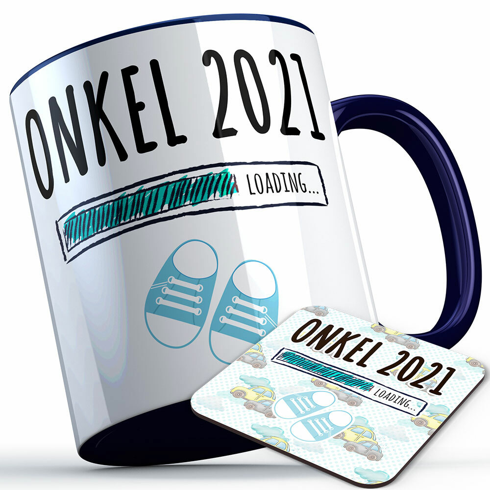 """Onkel 2021 loading... (Junge)"" Tasse inkl. passendem Untersetzer (4 Varianten) 92218"
