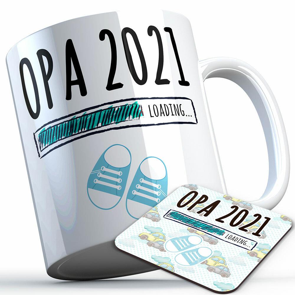 """Opa 2021 loading... (Junge)"" Tasse inkl. passendem Untersetzer (4 Varianten)"