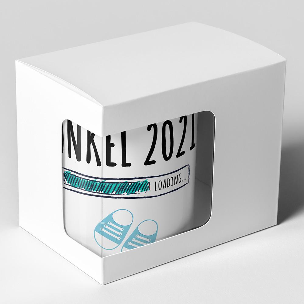 """Onkel 2021 loading... (Junge)"" Tasse inkl. passendem Untersetzer (4 Varianten)"