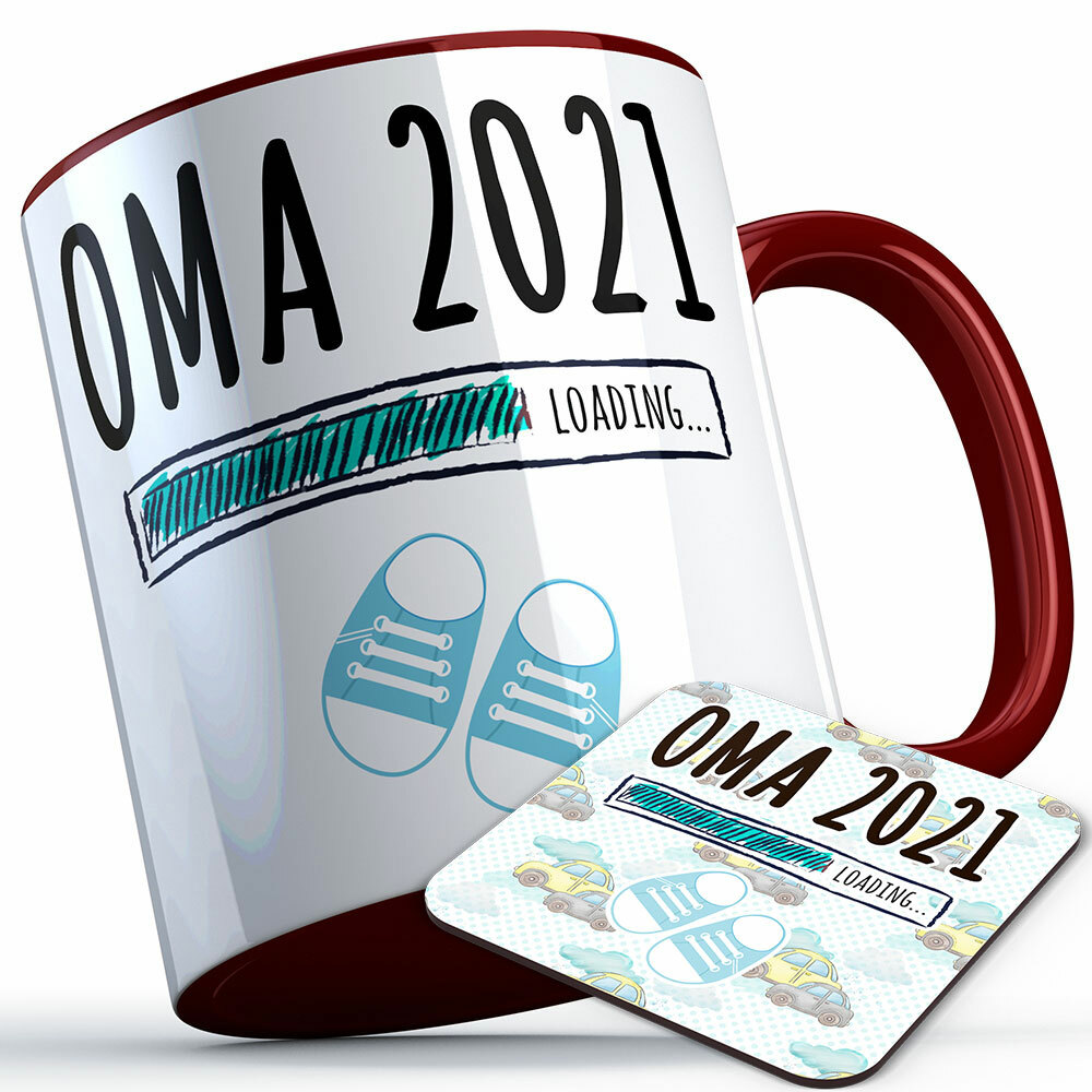 """Oma 2021 loading... (Junge)"" Tasse inkl. passendem Untersetzer (4 Varianten) 92220"