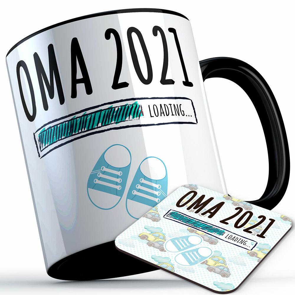 """Oma 2021 loading... (Junge)"" Tasse inkl. passendem Untersetzer (4 Varianten)"