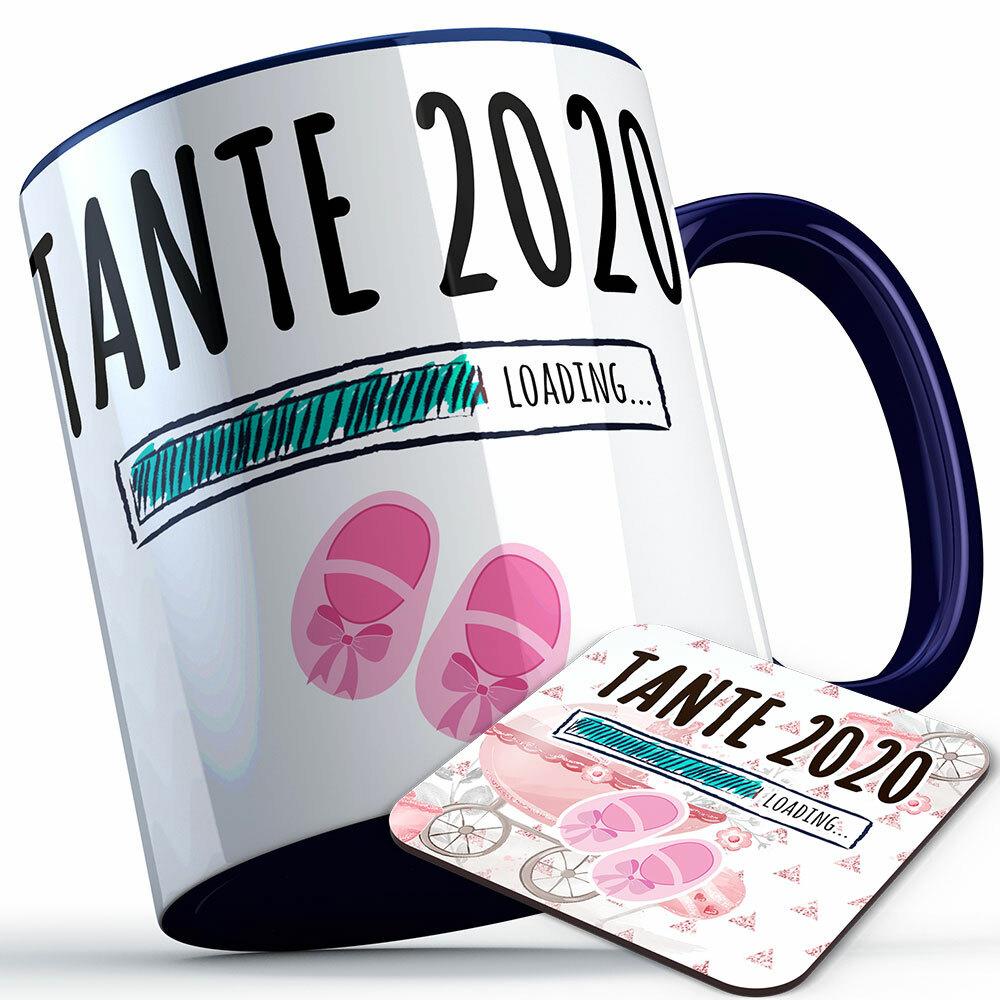 """Tante 2020 loading... (Mädchen)"" Tasse inkl. passendem Untersetzer (5 Varianten) 92228"