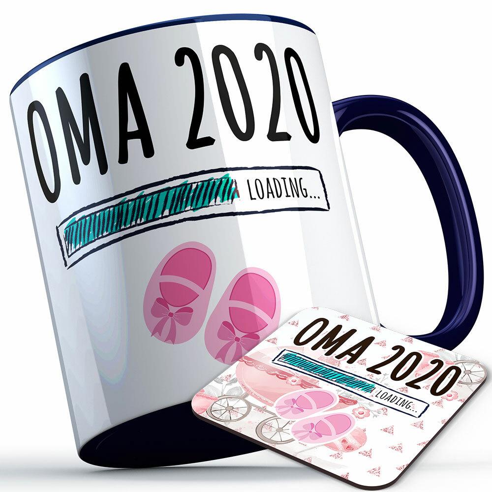 """""""Oma 2020 loading... (Mädchen)"""" Tasse inkl. passendem Untersetzer (5 Varianten)"""