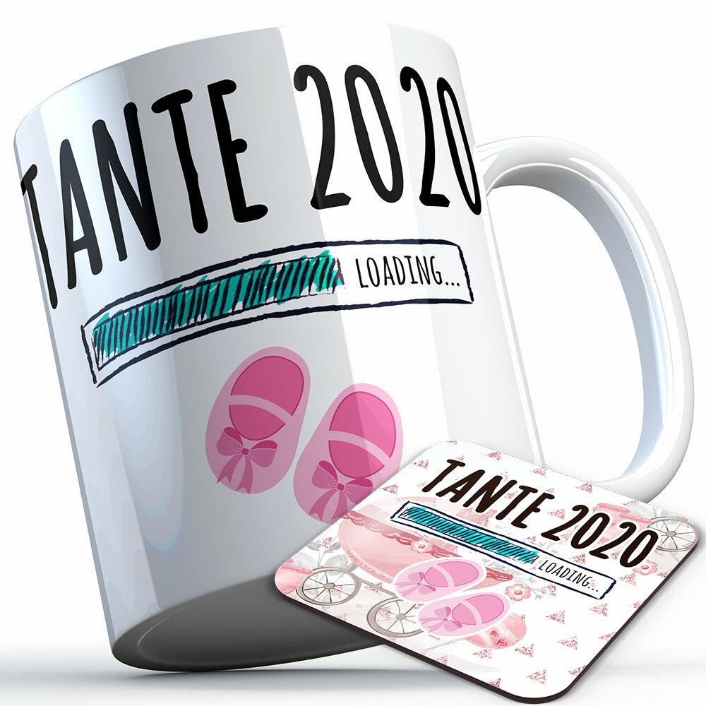 """Tante 2020 loading... (Mädchen)"" Tasse inkl. passendem Untersetzer (5 Varianten)"
