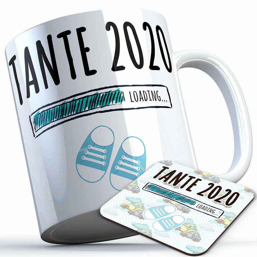"""Tante 2020 loading... (Junge)"" Tasse inkl. passendem Untersetzer (5 Varianten)"