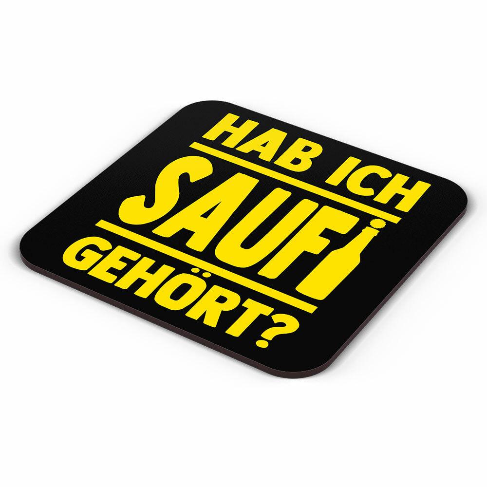 """""""Hab ich Saufi gehört?"""" Bieruntersetzer aus Hartfaser (Gelb) 92240"""