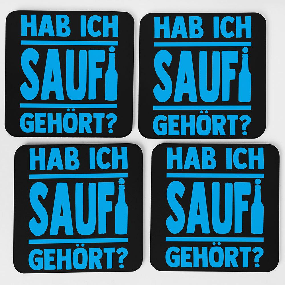 """""""Hab ich Saufi gehört?"""" Bieruntersetzer aus Hartfaser (Blau)"""