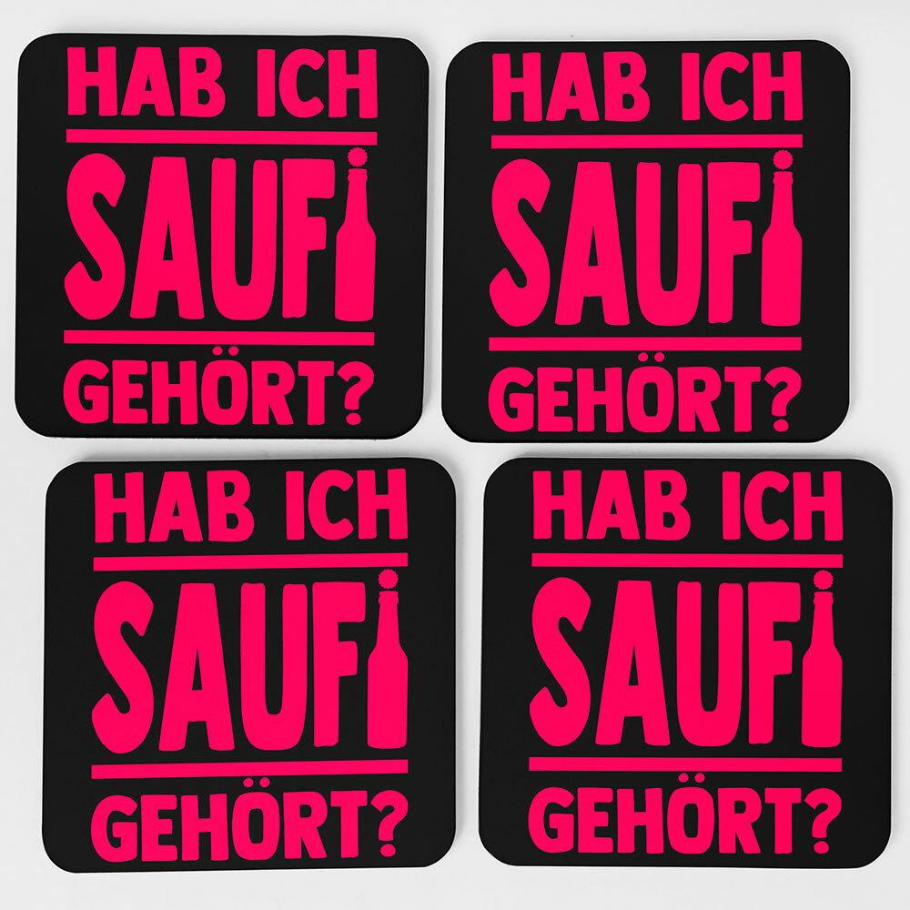 """""""Hab ich Saufi gehört?"""" Bieruntersetzer aus Hartfaser (Pink)"""
