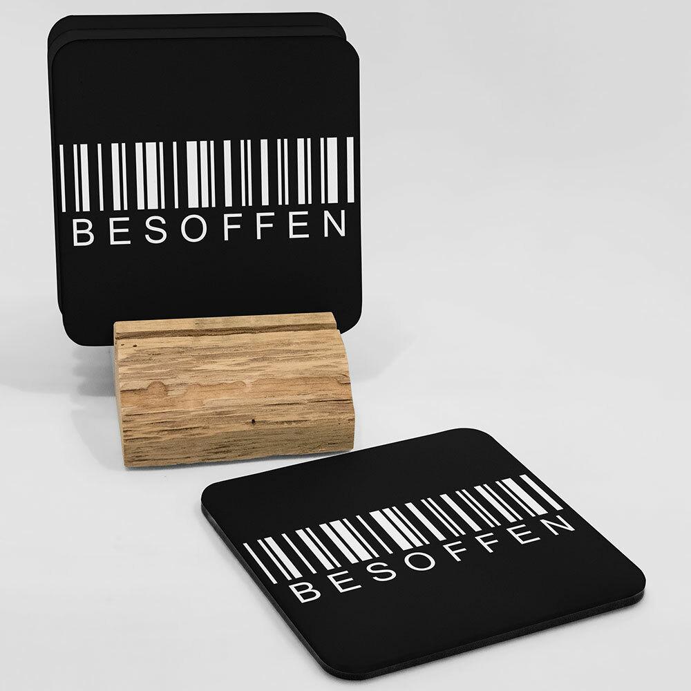 """""""Besoffen / Barcode"""" Bieruntersetzer aus Hartfaser"""