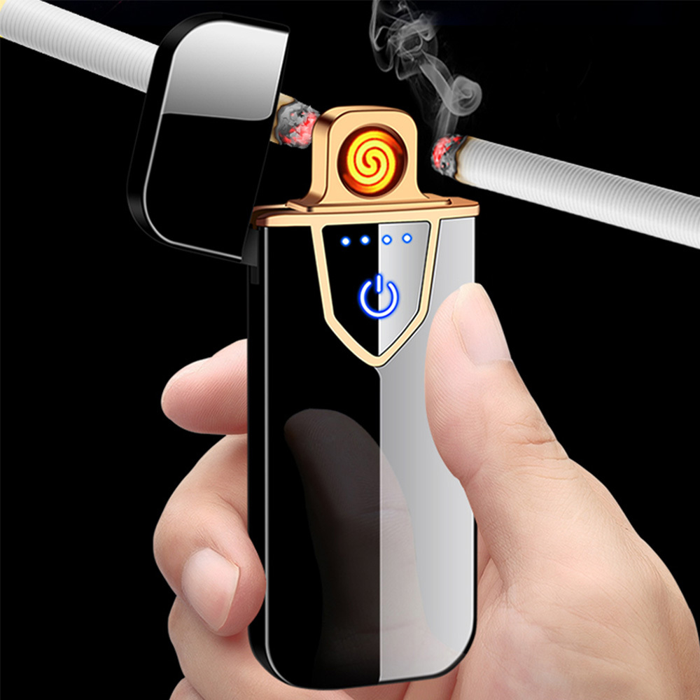 USB Lichtwellen Feuerzeug inkl. Micro USB Ladekabel und edler Geschenkbox (Farbe Blau)