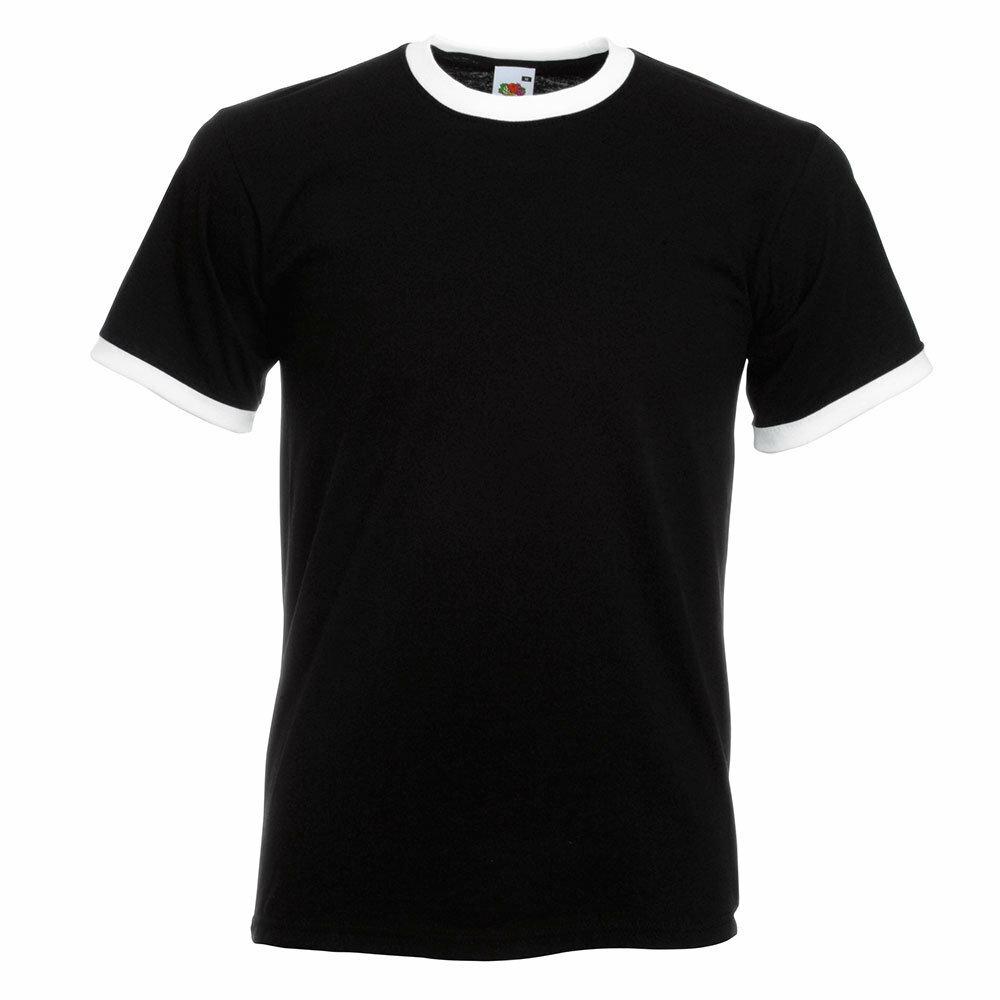 Ringer T-Shirt Rundhals (Herren, Farbe Schwarz) 92316