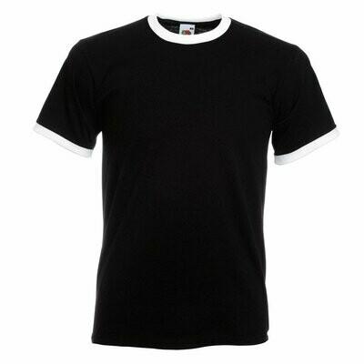 Ringer T-Shirt Rundhals (Herren, Farbe Schwarz)