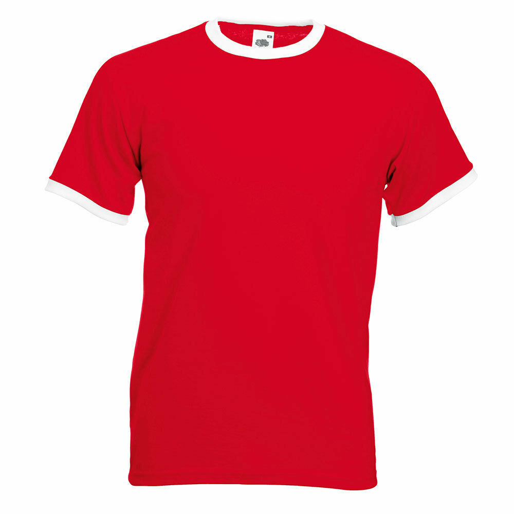 Ringer T-Shirt Rundhals (Herren, Farbe Rot) 92322