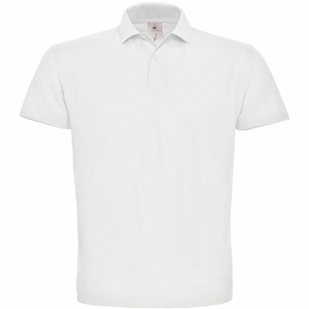 Premium Polohemd mit 2er Knopfleiste (Herren, Farbe Weiß) 92272
