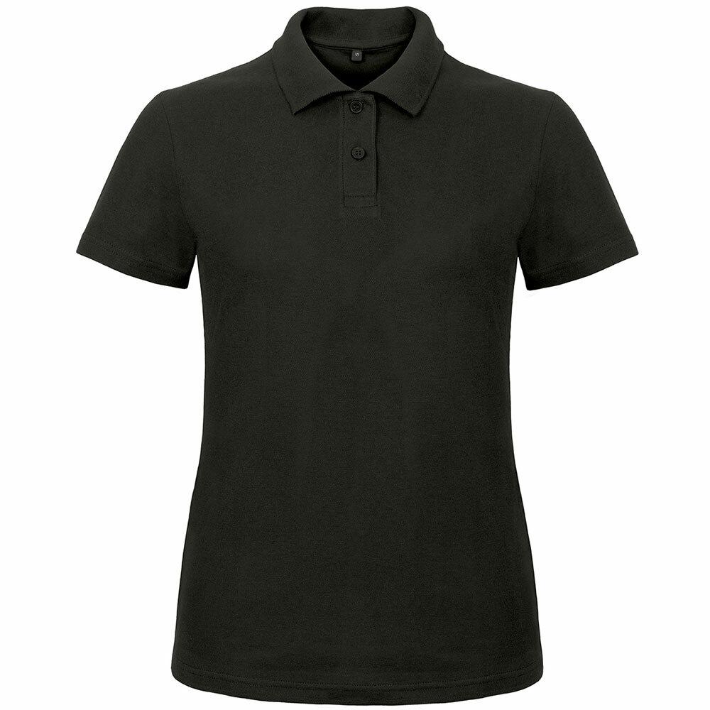 Premium Polohemd mit 2er Knopfleiste (Damen, Farbe Schwarz) 92286