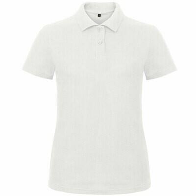 Premium Polohemd mit 2er Knopfleiste (Damen, Farbe Weiß)