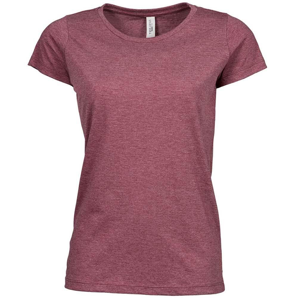 Premium Melange T-Shirt (Damen, Farbe Burgund) 92302