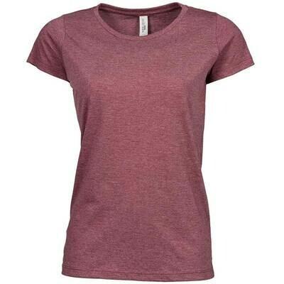 Premium Melange T-Shirt (Damen, Farbe Burgund)