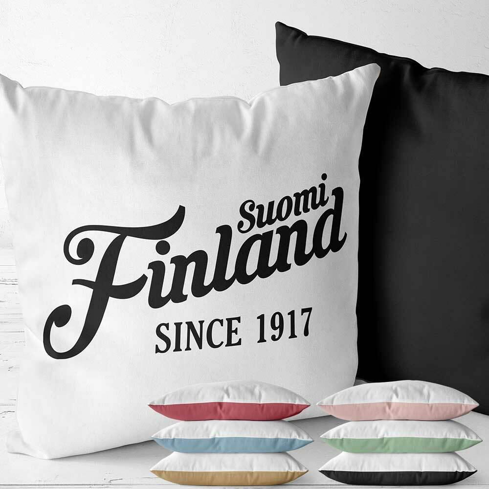"""""""Suomi Finland - since 1917"""" Two Tone Kissen (Erhältlich in sechs Farben) M1-FT 92173"""
