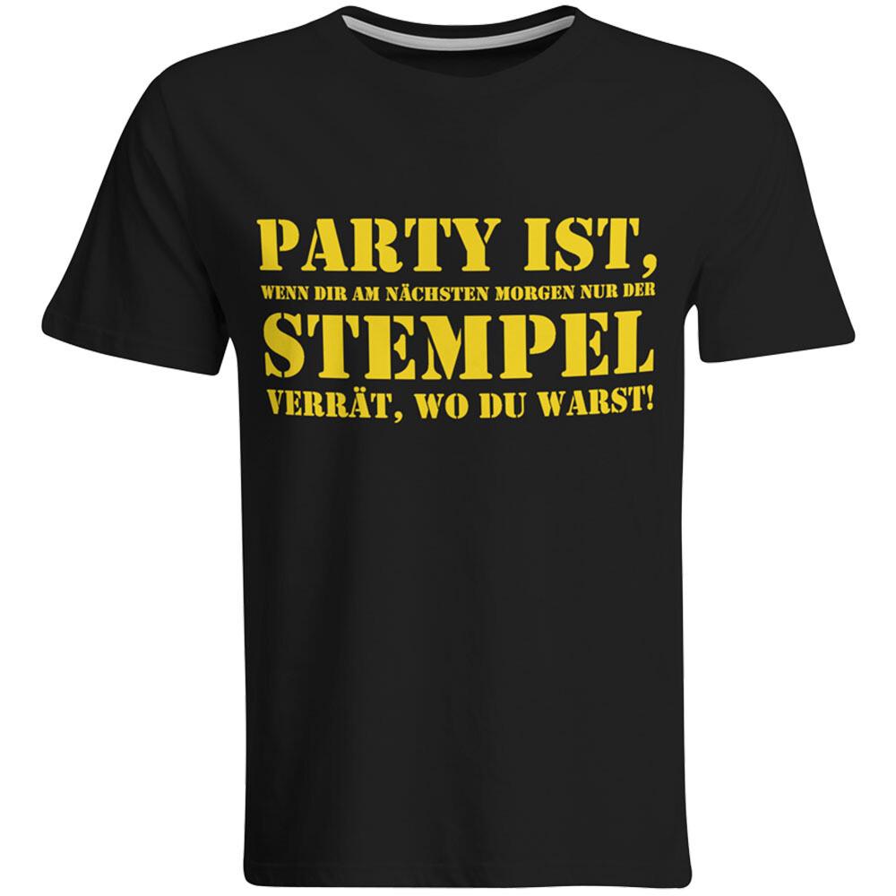 Party ist, wenn dir am nächsten Morgen nur der Stempel verrät, wo du warst T-Shirt (Herren, Rundhals Ausschnitt, verschiedene Farben)
