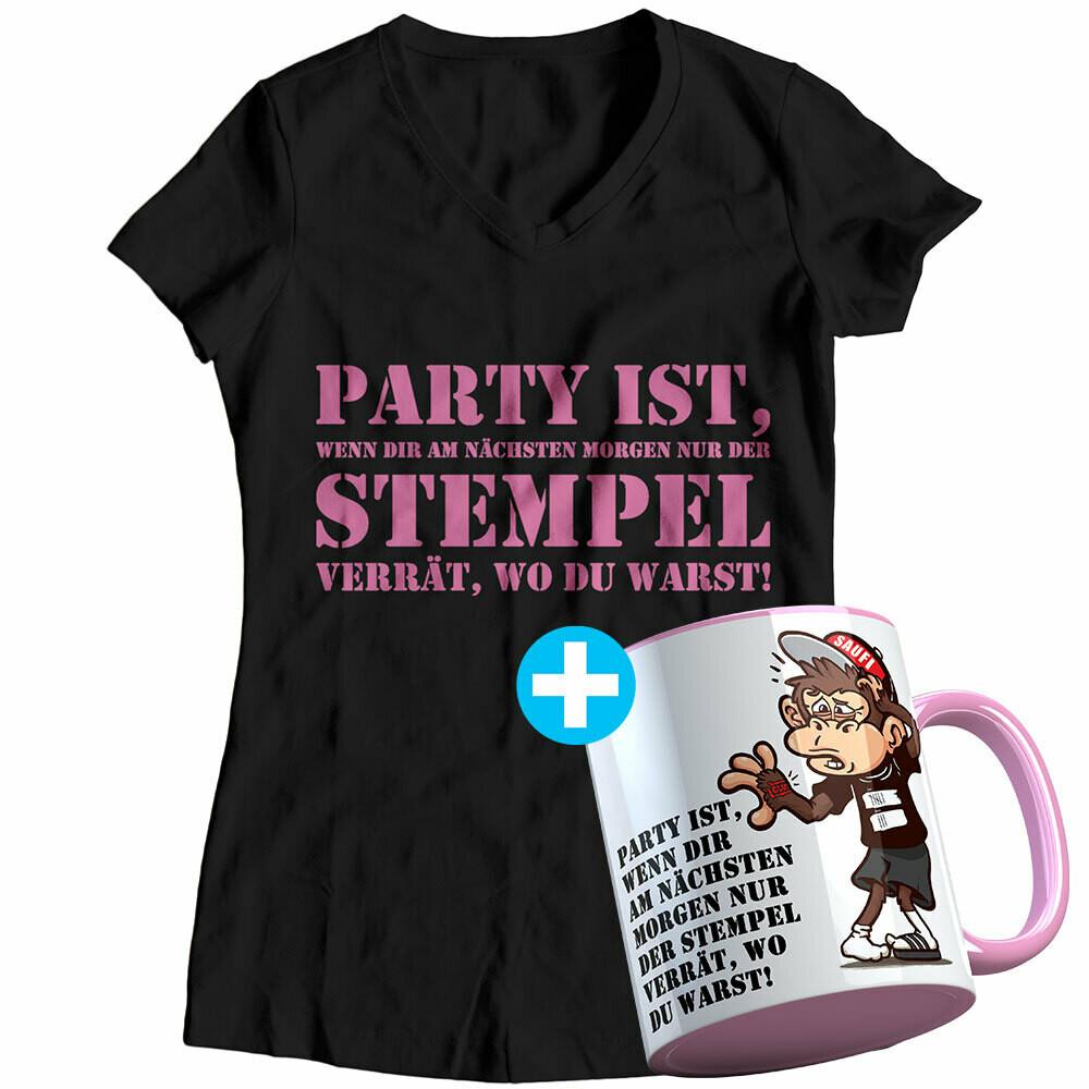 Party ist, wenn dir am nächsten Morgen nur der Stempel verrät, wo du warst Geschenkset inkl. Tasse (Damen, V-Neck Ausschnitt, verschiedene Farben)